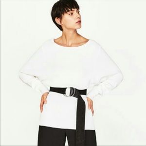 Zara Knit White dolman sleeve too, size large.